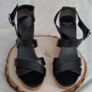 Cole Haan Grand OS Black Wedge Sandals Sz 6.5B